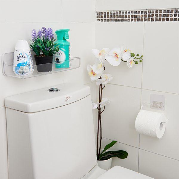 self-adhesive reusable acrylic toilet roll holder