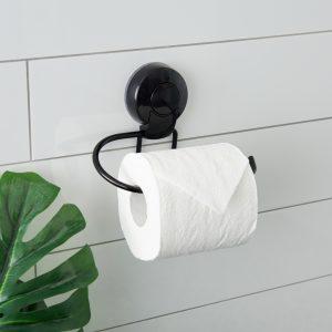 Ultraloc Black Toilet Roll Holder insitu HiRes